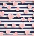 pink hearts on a striped background vector image vector image