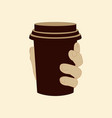 plastic cup in hand vector image vector image