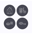 Real estate fire hose and gas counter icons vector image