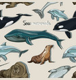 sea mammals animal collection icons pattern vector image vector image
