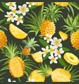 seamless floral pineapple pattern plumeria vector image vector image
