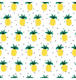 seamless pattern doodle pineapples on black vector image