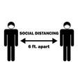 social distancing 6 ft apart stick figure vector image vector image