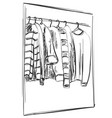 wardrobe sketch clothes on the hangers vector image vector image