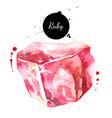 watercolor hand drawn ruby gemstone crystal vector image vector image