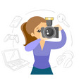 white woman making a photo with modern camera vector image