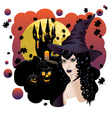 Witch and Bats3 vector image vector image