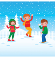 Group of children playing snowballs vector image