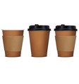 paper cup of coffee set 3d vector image