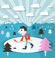 Hockey Player on Ice and Nature with Trees and vector image