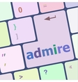 admire word on computer keyboard keys vector image vector image