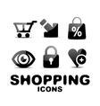 Black glossy shopping icon set vector image vector image