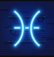 blue shining cosmic neon zodiac pisces symbol on vector image