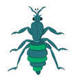 blue striped beetle with long paws and a rattle vector image vector image