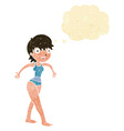 cartoon happy woman in swimming costume with vector image