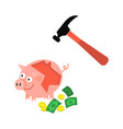 cartoon repaired piggy bank and hummer vector image vector image