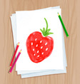 child drawing strawberry vector image vector image