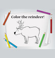 children reindeer coloring worksheet vector image vector image
