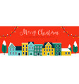 christmas and new year red city houses banner vector image vector image
