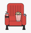 cinema chair with popcorn cup of drink and 3d vector image vector image