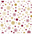 classic winter seamless in red and gold colors vector image vector image
