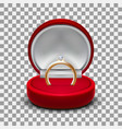 clear round red velvet opened jewelry gift box vector image