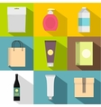Container icons set flat style vector image