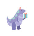 cute dinosaur with gift box funny colorful dino vector image vector image