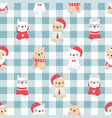 cute french bulldog puppy dog in christmas vector image vector image