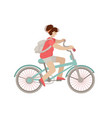 cute girl ride a city bike smiling happy woman on vector image vector image