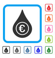 euro liquid drop framed icon vector image vector image