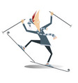excited cartoon skier man isolated vector image