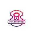 fitness club gym logo emblem on white vector image vector image