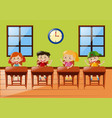 four students sitting in classroom vector image vector image