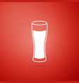 glass of beer icon isolated on red background vector image vector image