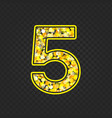 gold glittering number 5 vector image