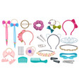 hair accessories woman fashion clips bows vector image