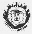 hand-drawn a wolf head vector image vector image
