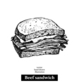 Hand drawn sketch beef sandwich isolated food vector image vector image