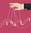 hand is controlling stock candle stick graph vector image vector image