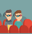 happy friends watching 3d movie in the theatre vector image vector image