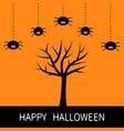 happy halloween card black tree silhouette plant vector image vector image