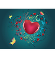 Heart with Floral and Butterflies2 vector image vector image