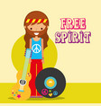 hippie man with guitar musical vinyl disc free vector image vector image
