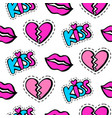 lips hearts and kiss patches seamless pattern vector image