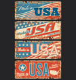 made in usa rusty metal plate signboard vector image vector image
