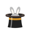 magician hat with a rabbit icon flat style vector image vector image