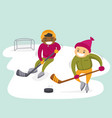 multiethnic boys playing hockey on outdoor rink vector image vector image