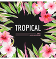 Palm Leaves and Tropical Flowers Background vector image vector image