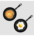 pan with pancake and fried eggs isolated vector image vector image
